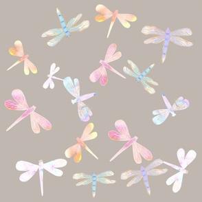 Watercolor Dragonflies // Gray Tide