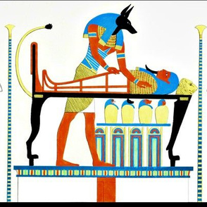 Anubis God ancient egypt egyptian king pharaoh gold mummy death masks tomb mummification Embalmer women servants canopic jars Hapi baboon Duamutef jackal Imsety Imsety wolf tombs graves dead corpse afterlife  tribal