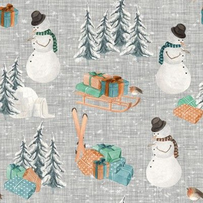 Woodland Winter Snowman // Gray Linen