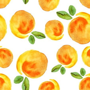 Scattered watercolor peaches