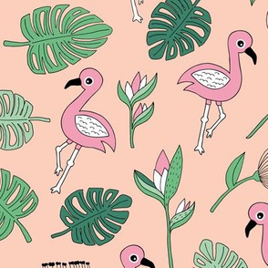 Flamingo island beach garden birds of paradise boho monstera leaves summer green pink