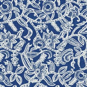 Vintage floral lace blue invert50