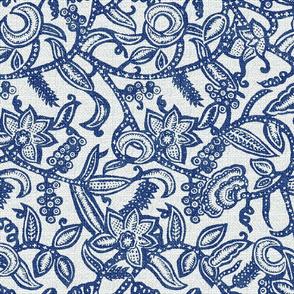 Vintage floral lace blue50