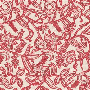 Vintage floral lace red