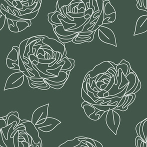 Minimalist roses on forest green 18""