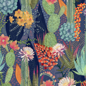 Desert Cacti and Blooms Large scale
