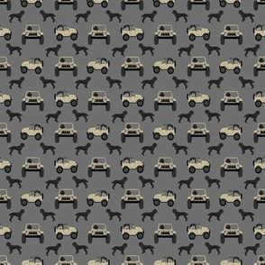 TINY - black poodle outdoors adventure fabric
