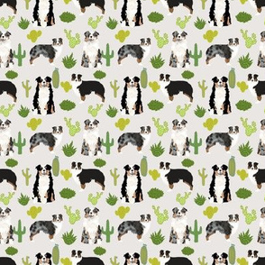 TINY - australian shepherds cactus dogs aussie dogs australian shepherds cacti fabric blue merle black and tan tri fabric