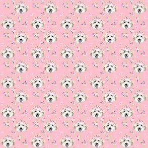 TINY - golden doodle flower crown fabric - dog flower crown, dog floral crown, dog florals, watercolor dog florals - pink