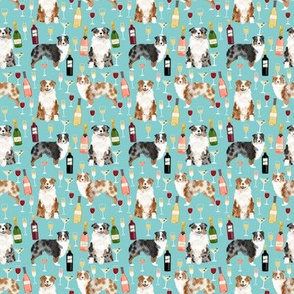 TINY - australian shepherd wine fabric - dogs and wine,d og fabric, red merle and blue merle dogs