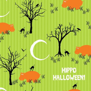 Halloween Hippo With Black Cat