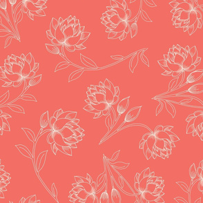 Lotus in Living Coral (large)
