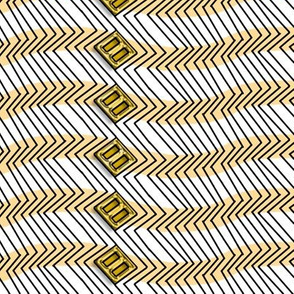 Op Art Zig Zags and Boxes in yellow with Gold Buckles