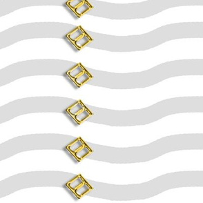3 D Buckles on Wavy Stripes