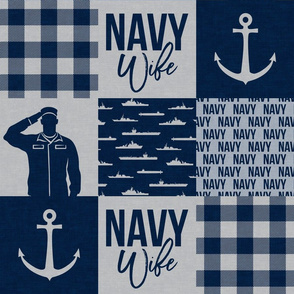 Navy Wife - military wife -  navy plaid -  LAD19