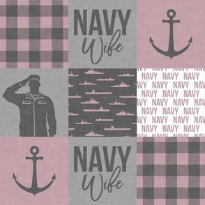 Navy Wife - military wife - mauve  plaid -  LAD19