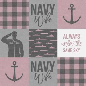 Navy Wife - Always under the same sky - mauve  plaid -  LAD19