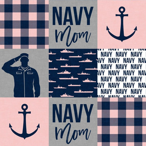 Navy Mom - military wholecloth - pink and navy plaid  -  LAD19