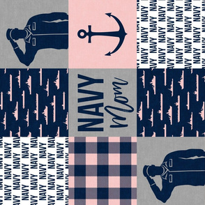 Navy Mom - military wholecloth -  pink and navy plaid (90) -  LAD19
