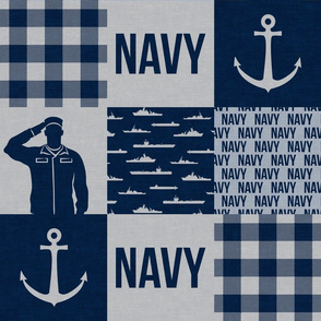Navy - Military Wholecloth - Navy (plaid) - LAD19