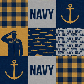 Navy - Military Wholecloth - Navy and Gold - LAD19