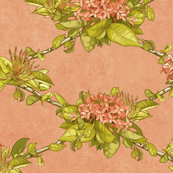 Floral on Peach, large scale