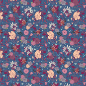 Floral Mania - Checkers - Blue