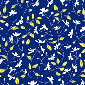 Wild flowers on blue