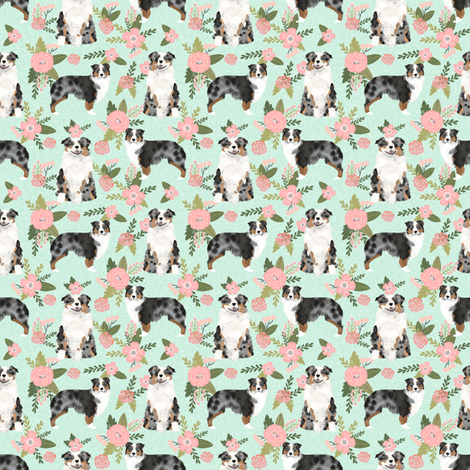 TINY - australian shepher pet quilt d blue merle coordinate floral fabric by petfriendly on Spoonflower - custom fabric
