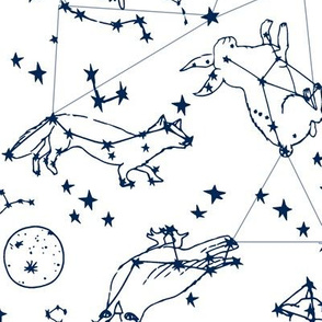 LARGE - constellations //navy and white night stars bright dream animals kids nursery print