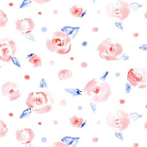 Patriotic roses in red and blue || watercolor florals for 4th July