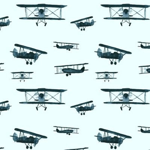 retro air planes on mint || watercolor airplanes for baby boy's nursery