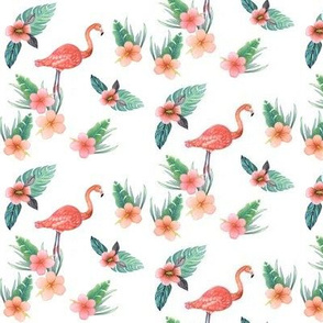 watercolor flamingo with tropical flowers, coral flamingo white