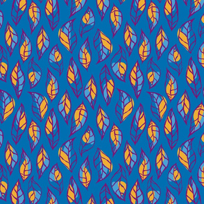Abstract Leafs Blue and Yellow