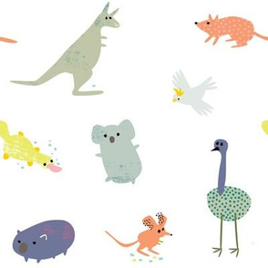 Australian Animals on white by Mount Vic and Me