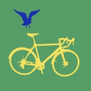Bicycle and Bird on Green