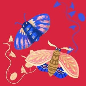 Cute Moths on Red