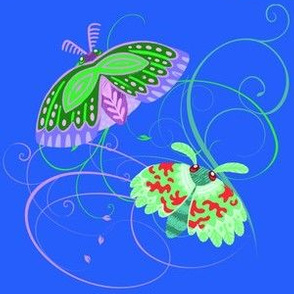 Green and Purple Moths on Mid Blue