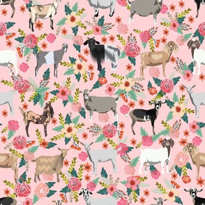 goat floral fabric - goat floral, farm floral, farm animals floral, nigerian dwarf goat, boer goat - pink