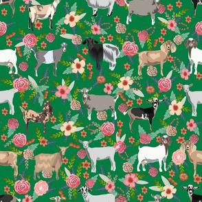goat floral fabric - goat floral, farm floral, farm animals floral, nigerian dwarf goat, boer goat - green