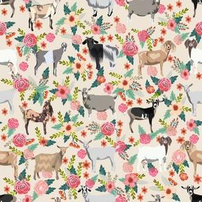 goat floral fabric - goat floral, farm floral, farm animals floral, nigerian dwarf goat, boer goat - cream