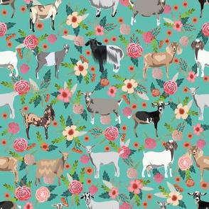 goat floral fabric - goat floral, farm floral, farm animals floral, nigerian dwarf goat, boer goat - teal