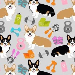 corgi fitness workout fabric - dog fabric, corgi fabric, fitness fabric, workout fabric -grey