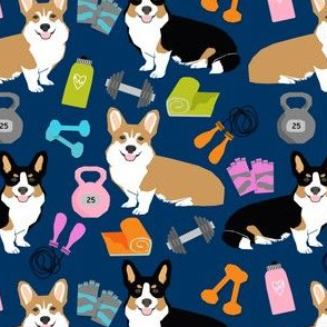 corgi fitness workout fabric - dog fabric, corgi fabric, fitness fabric, workout fabric - navy