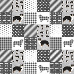 "TINY - aussie tricolored cheater quilt grey and black  - 1"" squares"