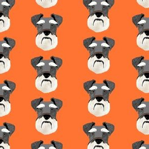 schnauzer head fabric dog head fabric dogs pets pet fabric - orange