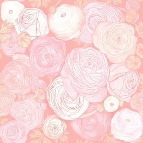 ranunculus garden floral: rose gold