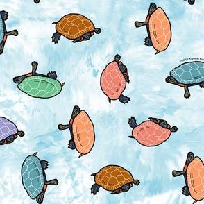 Summer Turtles Blue Raspberry Batik Ditsy
