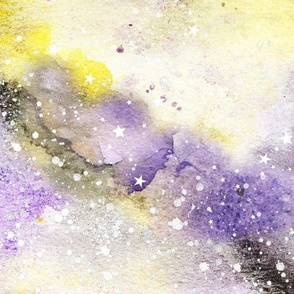 Watercolour #3 - purple, black and yellow with white stars - larger scale