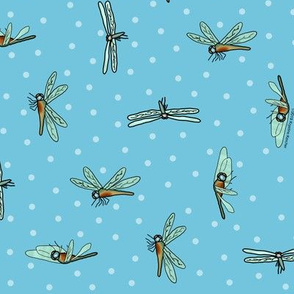 Dragonflies and Dots Ditsy Sky Blue